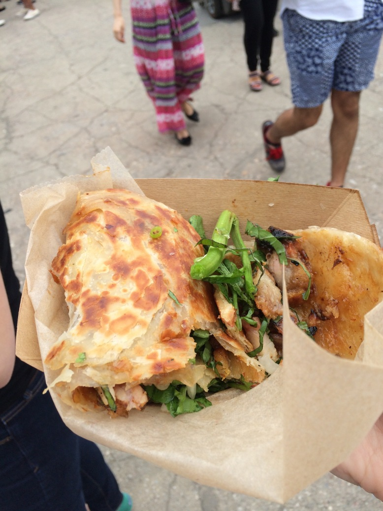 Scallion pancakes with crispy pork